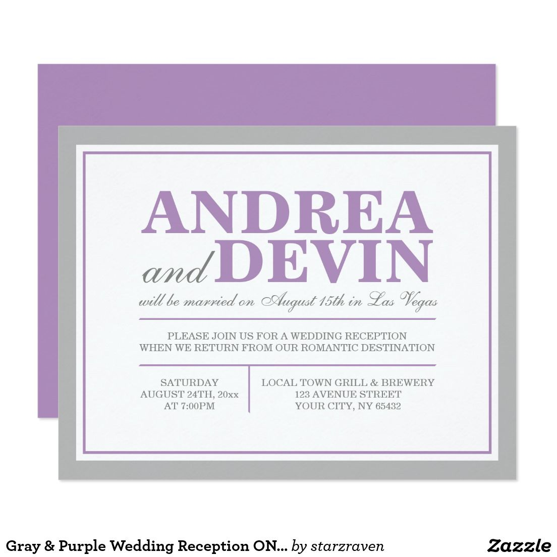 Thank you, Rhonda in Texas, for your purchase of these Gray & Purple Wedding Reception ONLY Invitations. (8/26/2016)