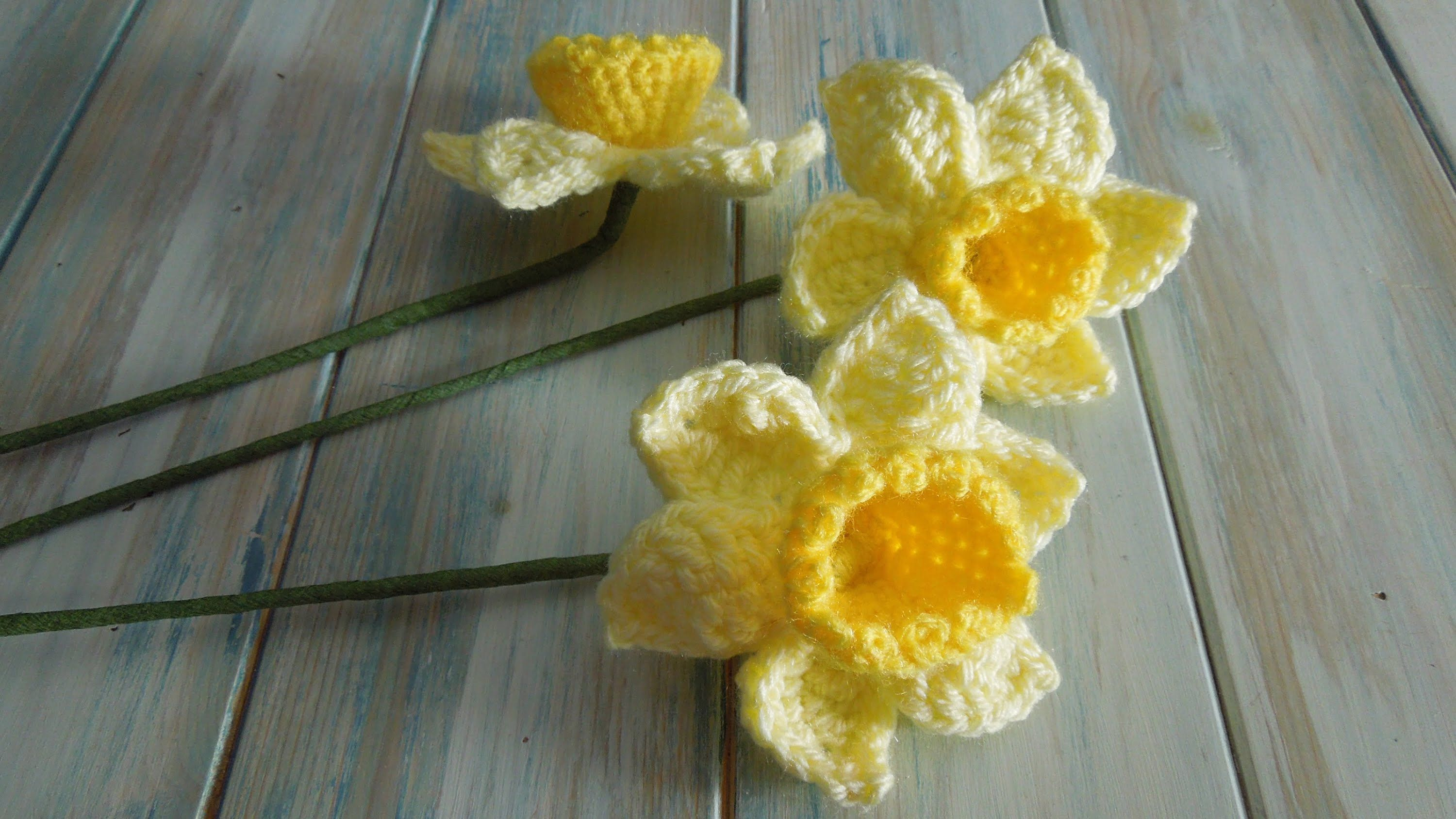Free 3d Daffodils Granny Square Crochet Pattern Rose Flower Diagram Flowers 4 How To Daffodil Video Tutorial