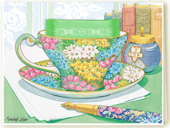 A lovely vintage Chintz teacup greeting cards with Irish Breakfast tea on a green writing table, from Kimberly Shaw Graphics