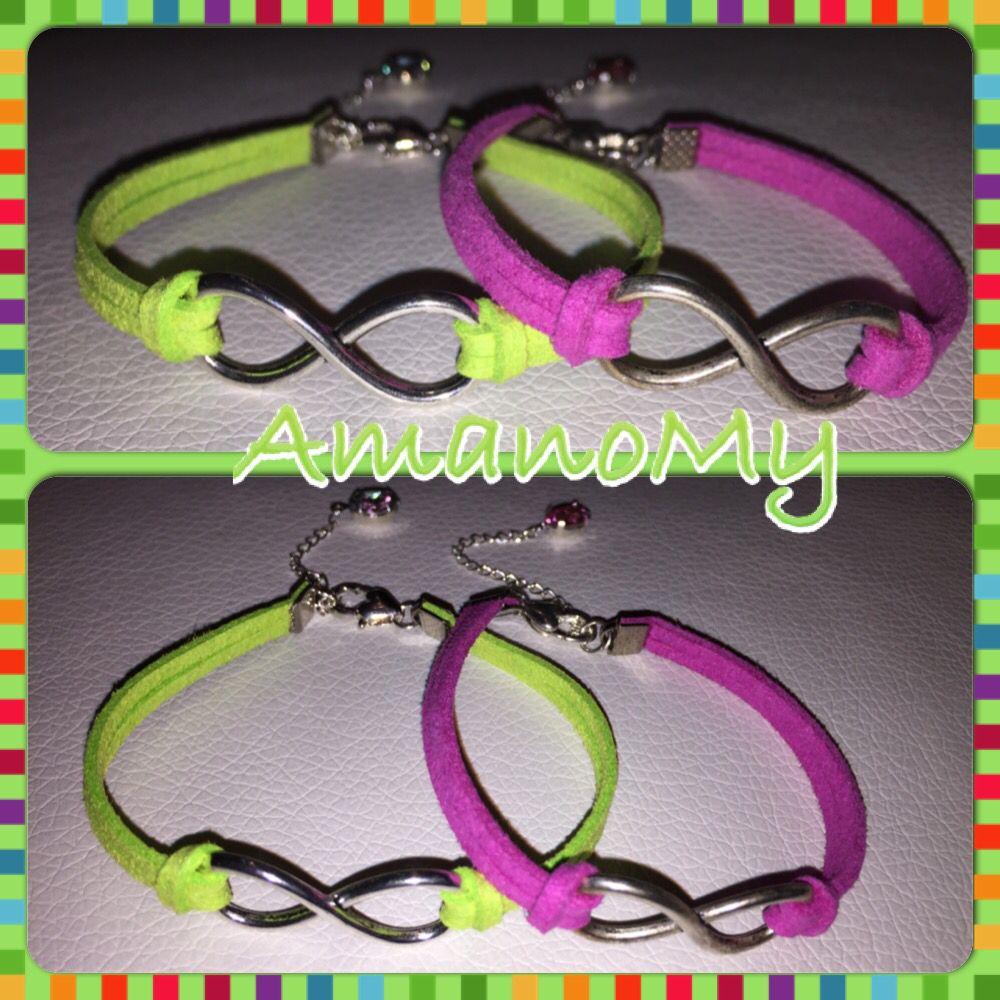 Bracelet#bracciale#jewels#infinito#strass#charms#handmade#alcantara#colori#bijoux#fucsia#giallofluo#