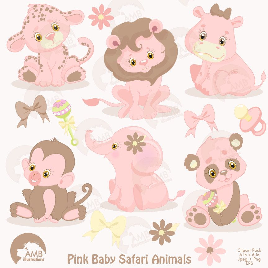 Jungle Animals Clipart Jungle Animal Babies Pink Baby Etsy Animal Clipart Baby Jungle Animals Safari Baby Clipart