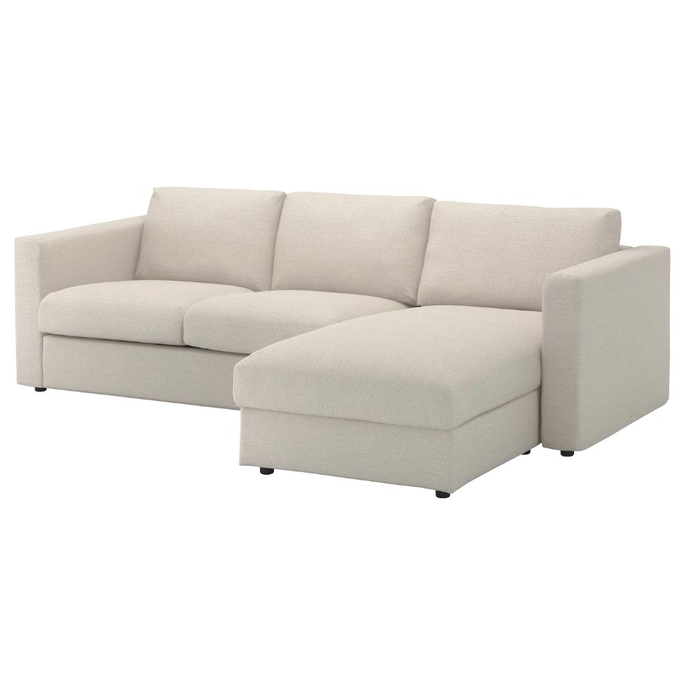 VIMLE Sofá 3 plazas, +chaiselongueGunnared beige IKEA in