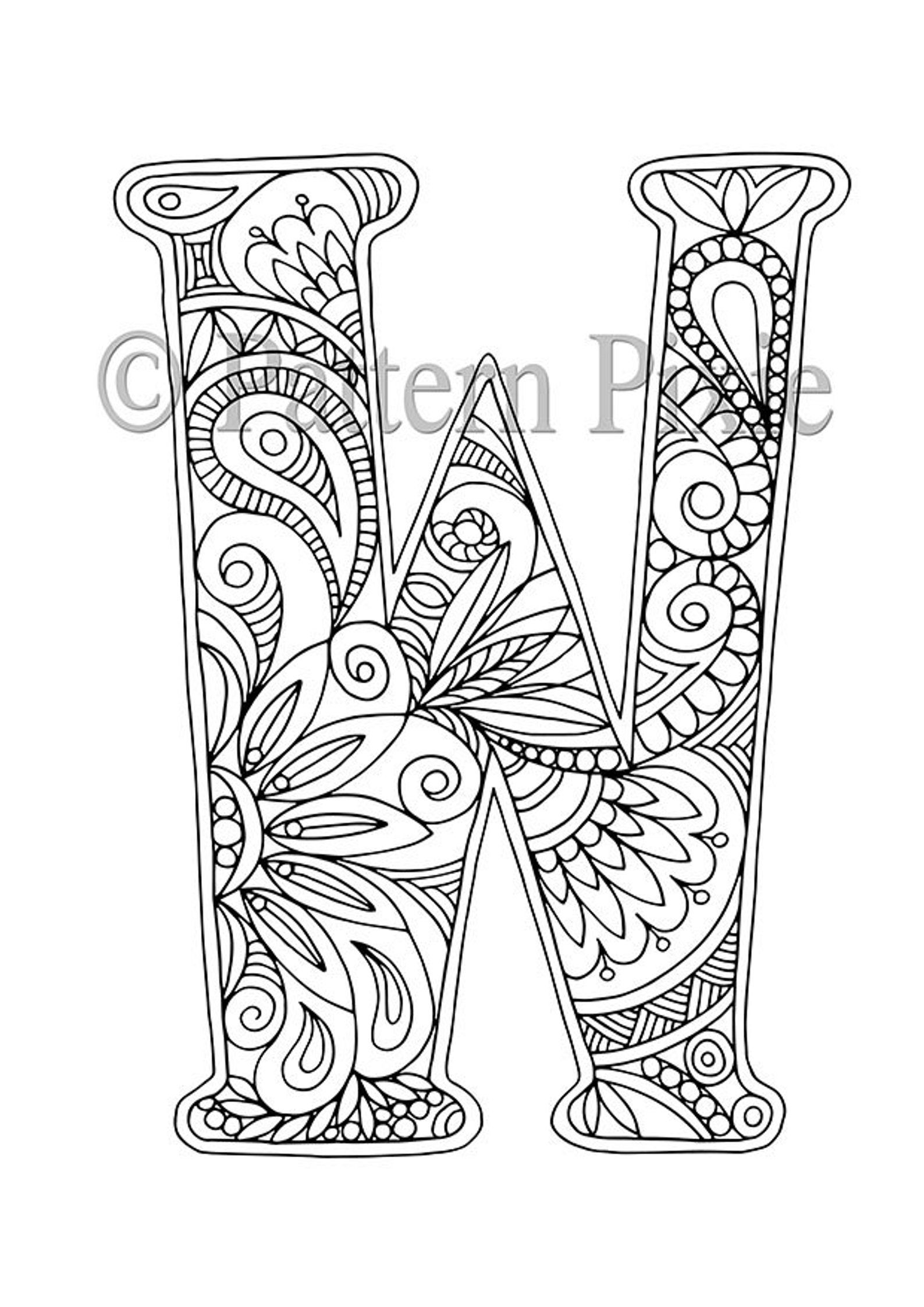 Alphabet Colouring Page For Adults Colouring Page For Digital Etsy Coloring Letters Lettering Alphabet Alphabet Coloring Pages