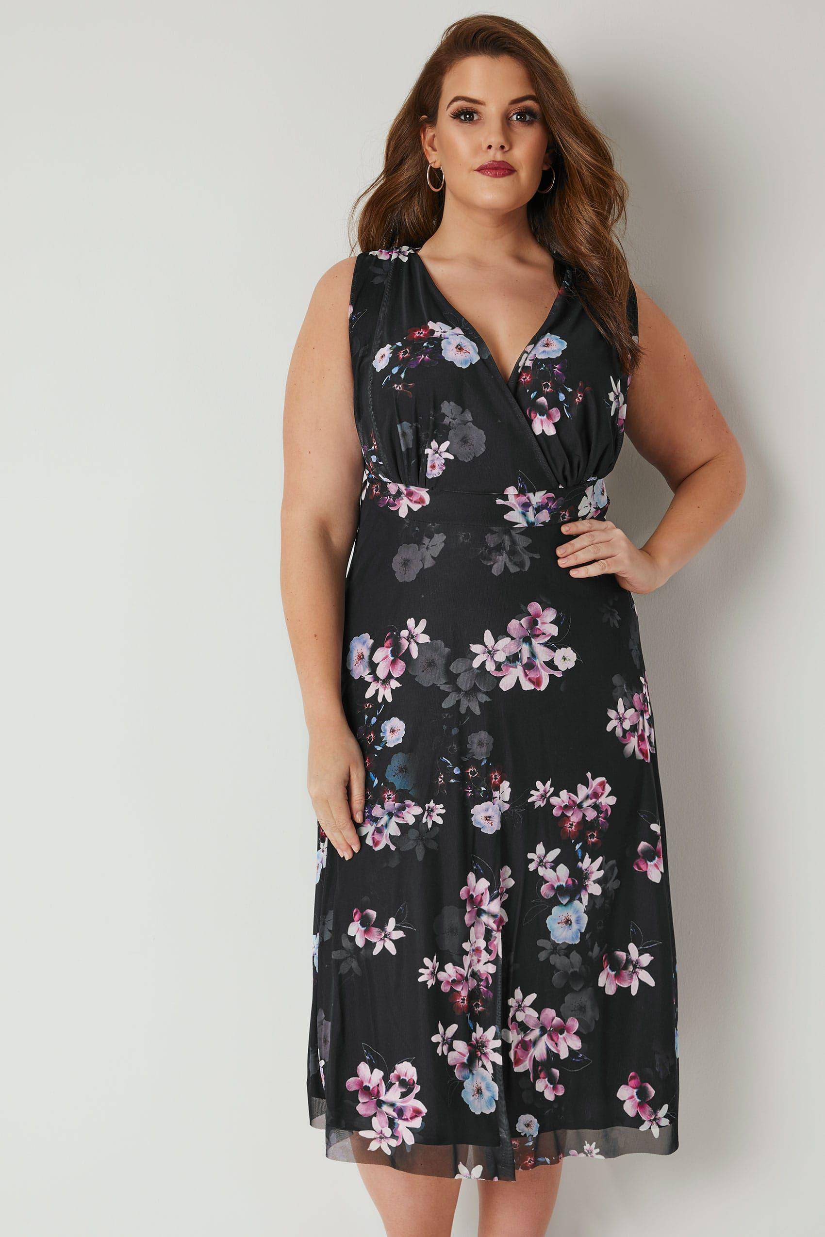 6ea5e60eaa56e YOURS LONDON Black   Purple Floral Wrap Dress