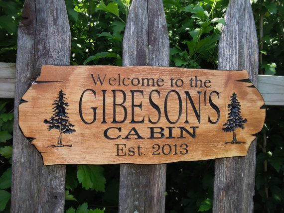 Cabin sign last name personalized wooden carved rustic for Cabin signs wood