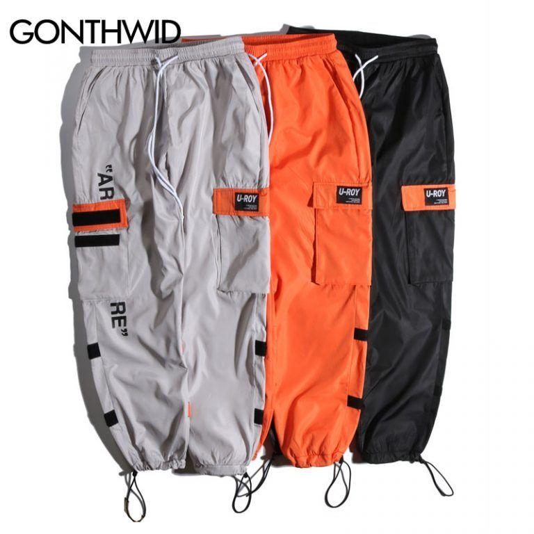 Men Side Pockets Cargo Pants Harem Trousers Fashion Joggers Tactical Orange