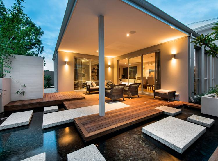 idee gartenteichgestaltung stein schwebende trittplatten moderne terrasse sitzbereich. Black Bedroom Furniture Sets. Home Design Ideas