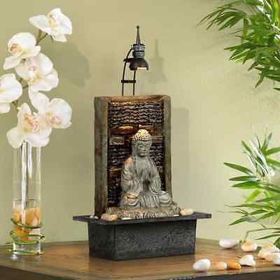 Namaste Buddha Water Tabletop Fountain Indoor Decor Waterfall