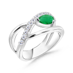 Pear Emerald and Round Diamond Crossover Ring