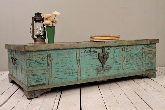 Superior Turquoise Green Reclaimed Salvaged Antique Indian Wedding Trunk Coffee Table  Storage Chest