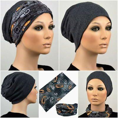 BEANIE MÜTZE + BAND Chemo Turban Stirnband Kopftuc