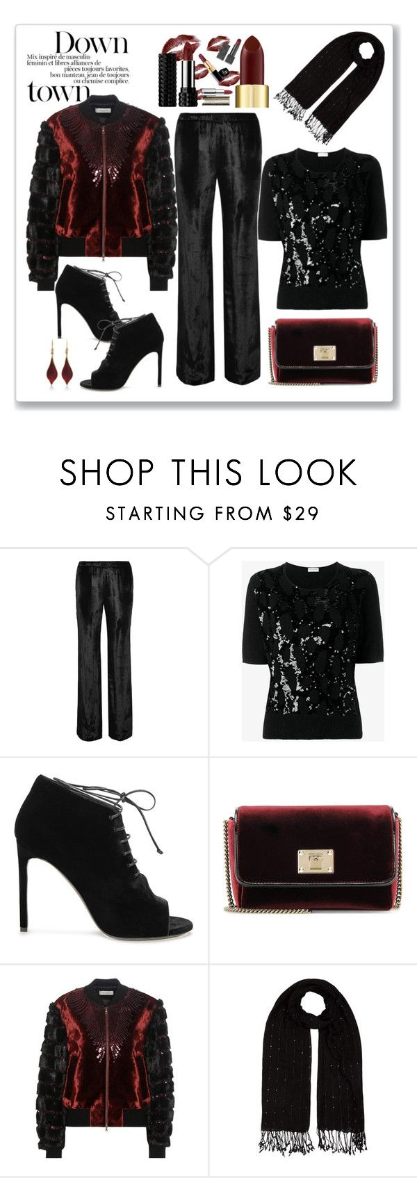 """Dries Van Noten Sequin Velvet Bomber Jacket Look"" by romaboots-1 ❤ liked on Polyvore featuring Tamara Mellon, Dries Van Noten, Yves Saint Laurent, Jimmy Choo, Jacques Vert and Annette Ferdinandsen"