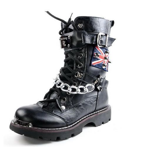 Demonia Defiant-306 Buckle Combat Boots Gothic,Goth,Punk,Black,Buckle