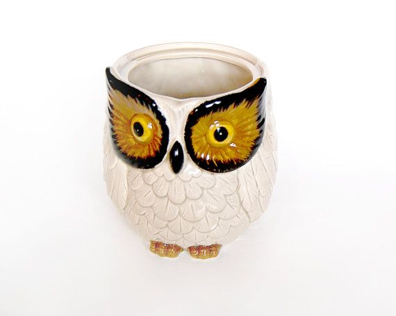 Owl Decor / Owl Kitchen / Owl Crock / Owl Cup / By MinxouriVintage, $15.00