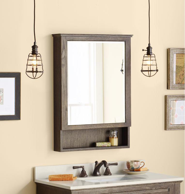 Ronbow 617124 24 Wood Framed Rectangular Medicine Cabinet With Three Adjule Vintage Cafe Bathroom Storage