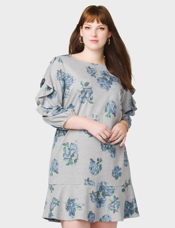 899da424d52 Plus Size Floral Ruffle-Sleeve Sweatshirt Dress (original price ...