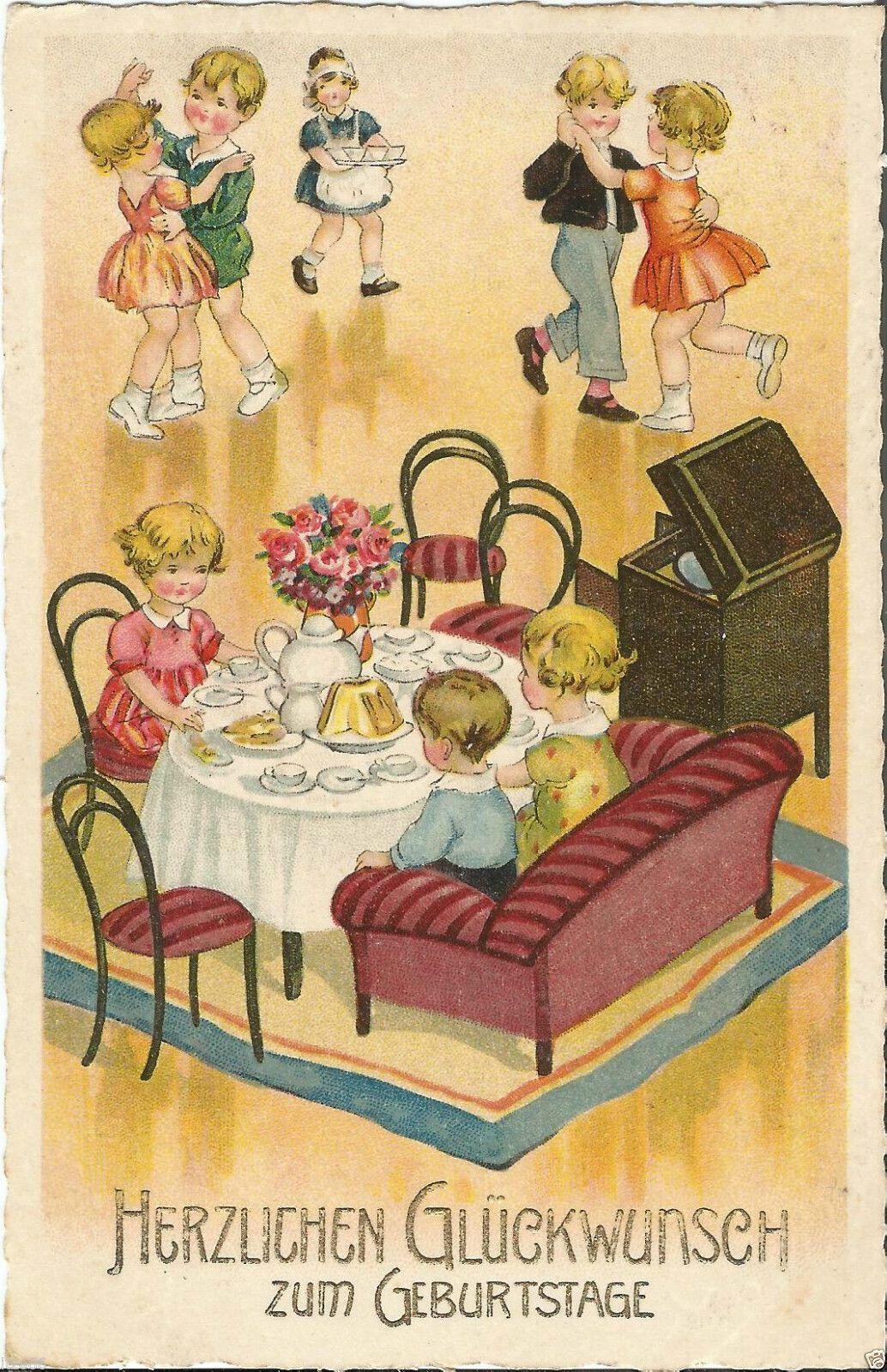 Geburtstag, Kinder beim Tanzen mit Musik aus dem Grammophon, alte Ak von 1933 | eBay