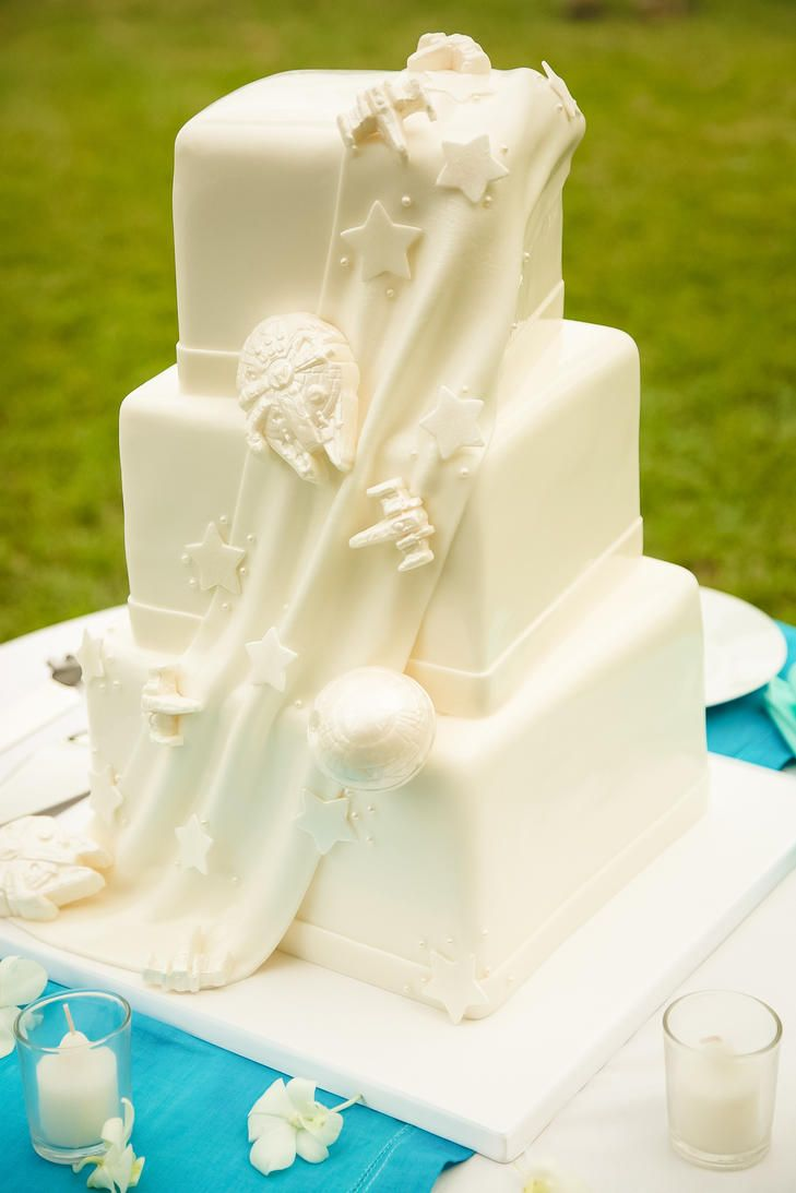 star wars wedding ideas perfect for the fourth knots a classic ivory star wars wedding cake the knot star wars
