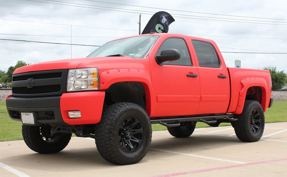 Matte Red Vinyl Truck Wrap Zilla Wraps Lifted Chevy Trucks Trucks Matte Red