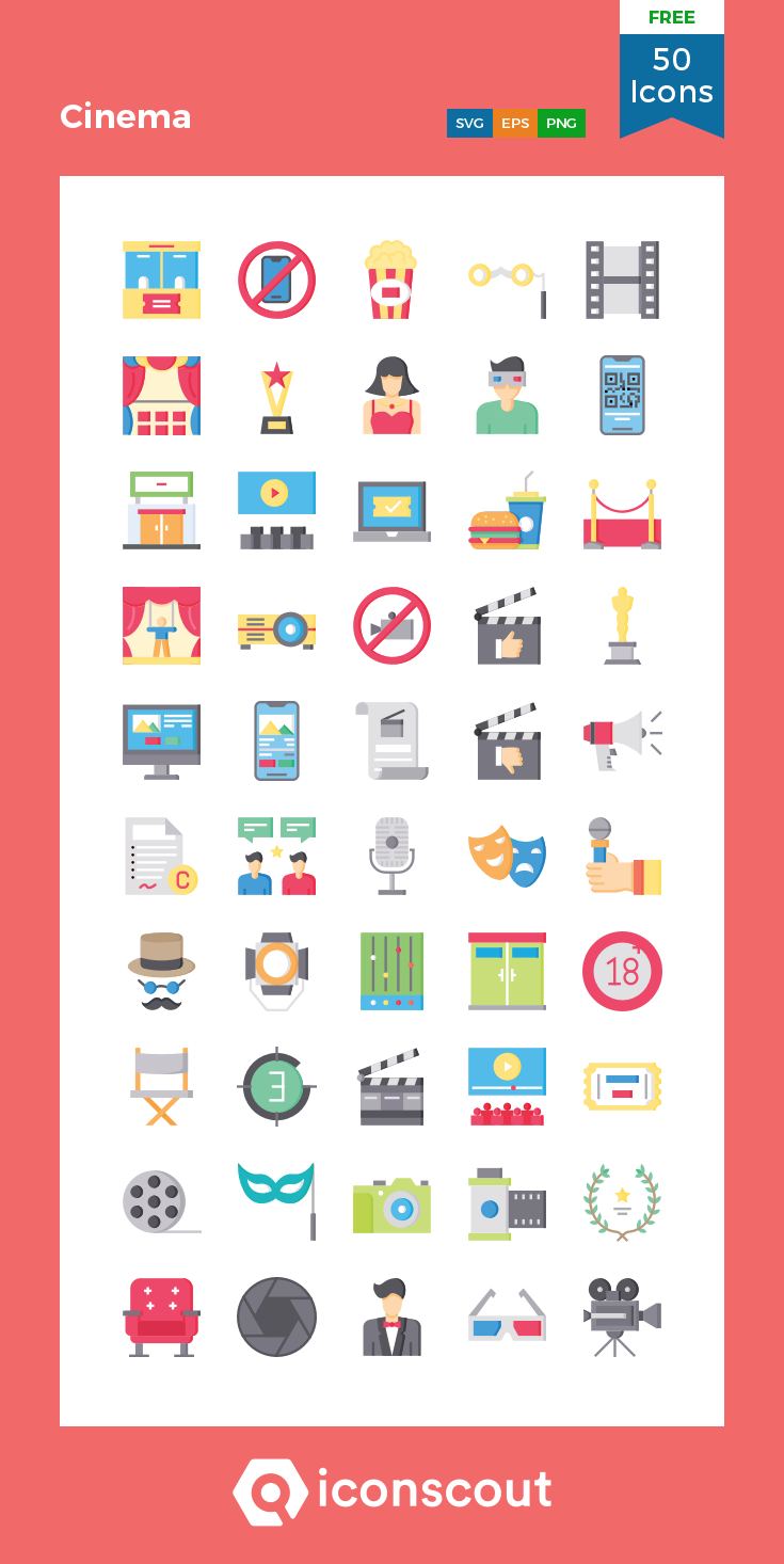 Cinema Free Icon Pack 50 Flat Icons