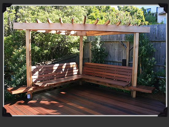 Seating shade structure idea for the back corner from for Backyard corner design ideas