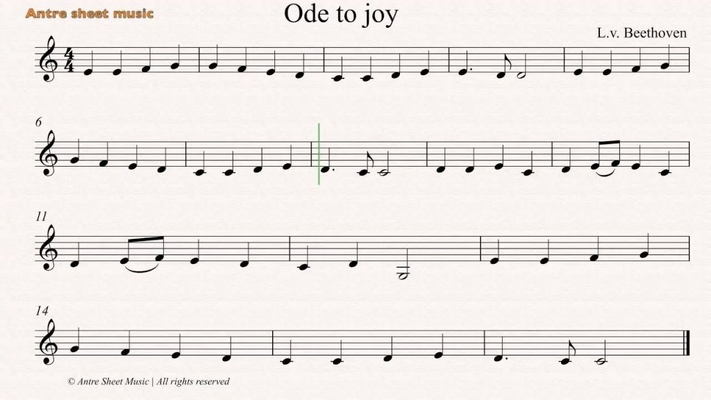 Ode To Joy Sheet Music With Letters