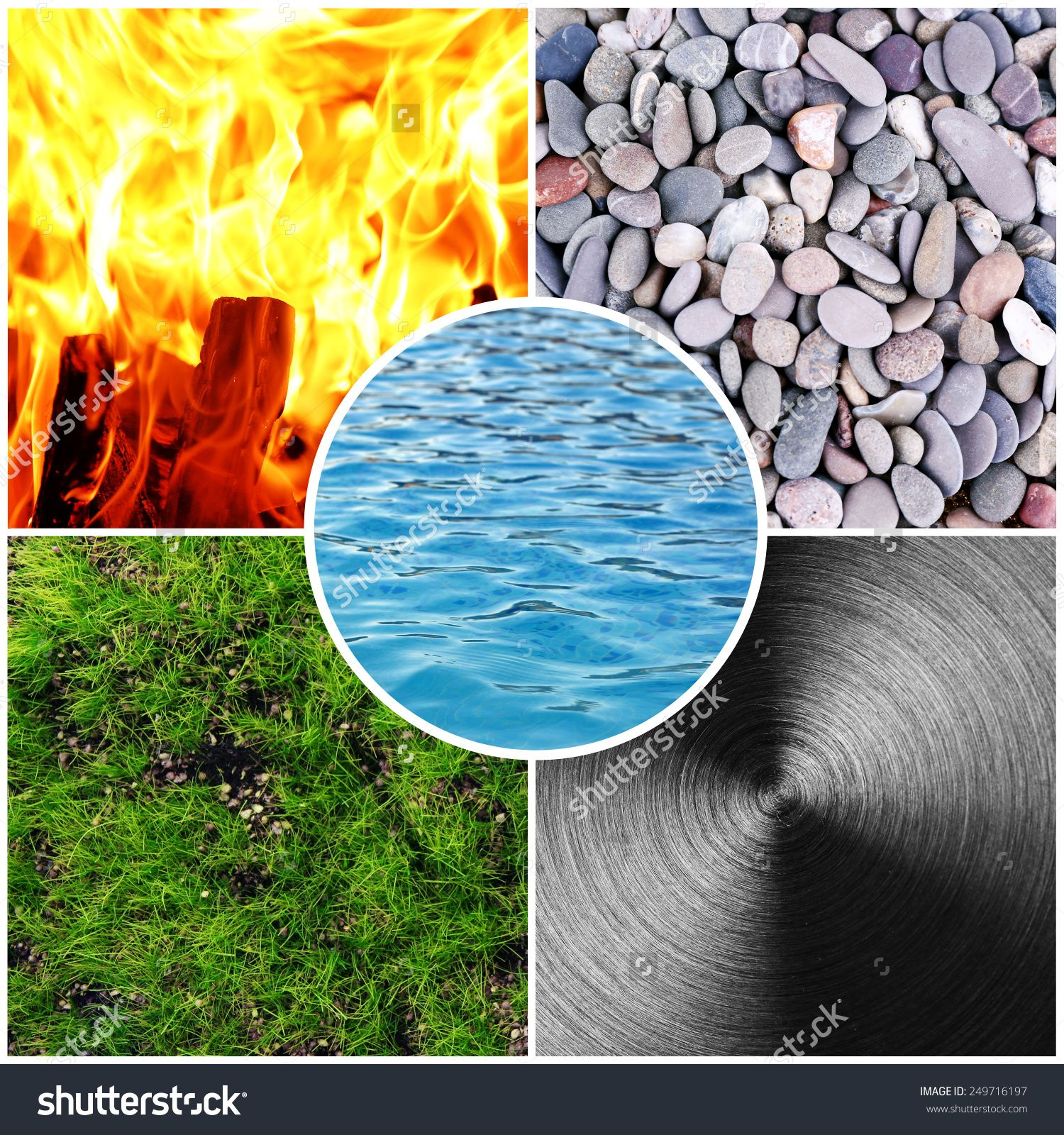 Collage Of Feng Shui Destructive Cycle With Five Elements (Water,