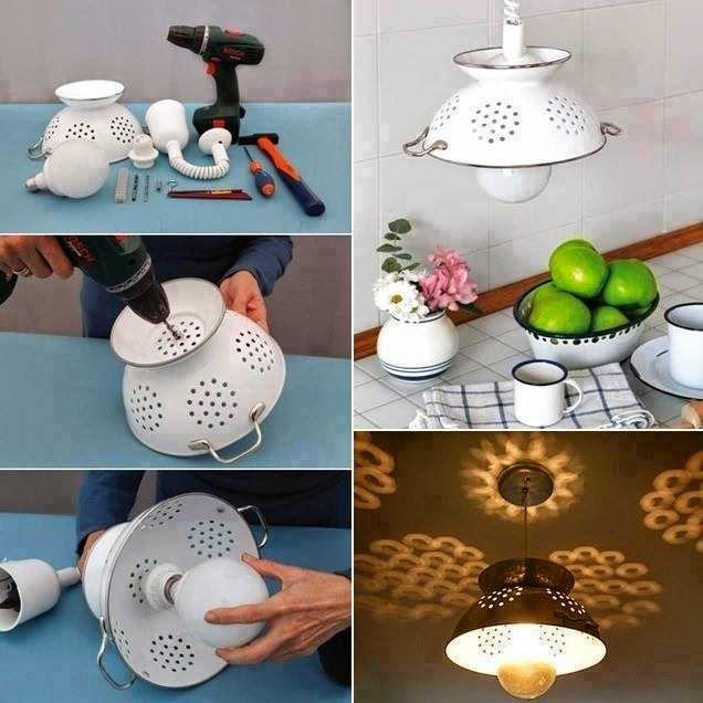 como hacer una lampara con cacerola accesorios para la