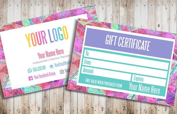 Gift Card Gift Certificate Template Printable Gift