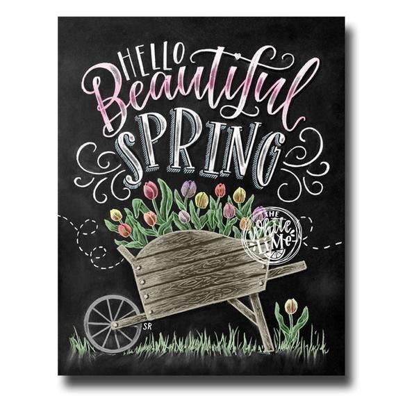 Spring Art, Hello Spring, Spring Sign, Chalk Art, Chalkboard Art, Beautiful Spring, Wheelbarrow Art, Tulips, Spring Decor, Tulip Art,