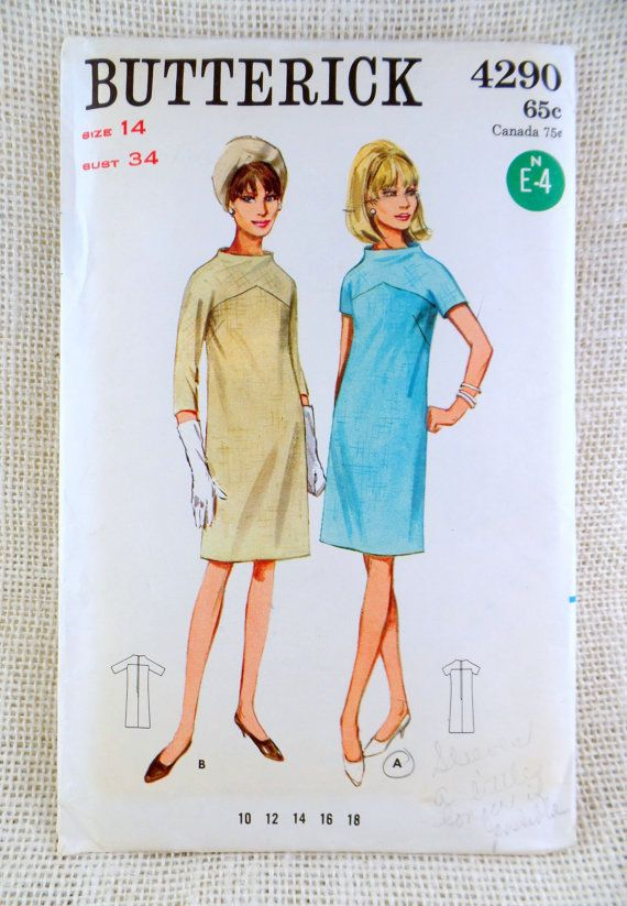 Butterick 4290 Vintage sewing pattern Dress high neck mod 1960s Mad ...