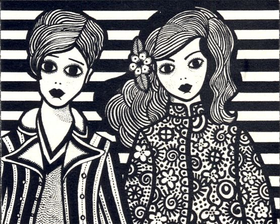 Illustration of Twiggy and Shrimpton-types by Barbara Hanrahan ~ Honey, September 1967