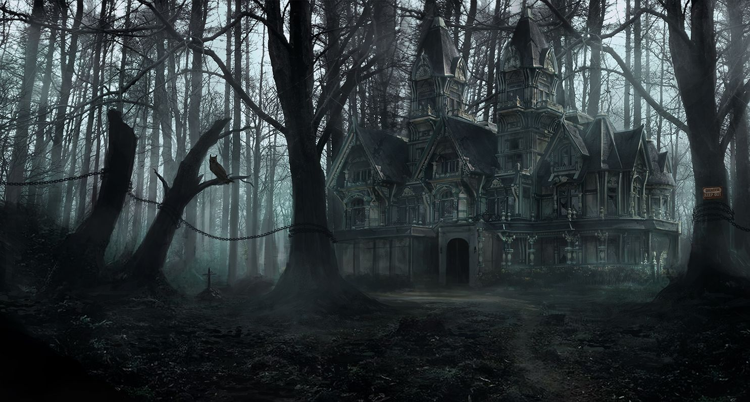 Creepy scary forest mansion fog creepy pinterest for Creepy gothic pictures