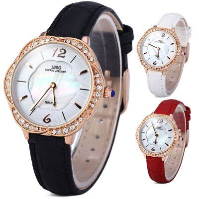 $14.55 (Buy here: http://appdeal.ru/al70 ) IBSO 3819 Diamond Women Quartz Watch Analog Fashion Dial Leather Strap for just $14.55