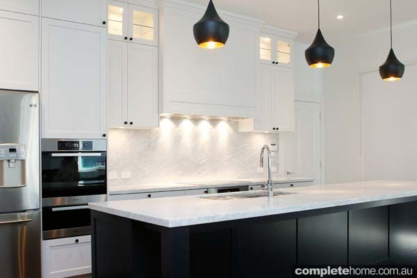 White Kitchen Island Bench white kitchen, marble benchtop with black handles - google search