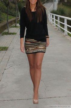 Plain black top + Patterned skirt + Nude heels