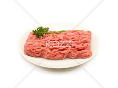 Raw Ground Beef on a Plate - Raw ground beef on a plate, sitting on a white background.