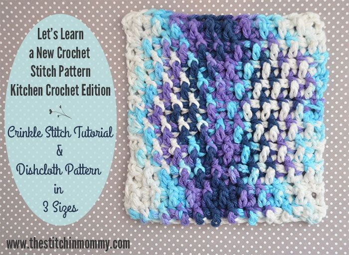 Crinkle Stitch Tutorial and Dishcloth Pattern | Puntos crochet ...