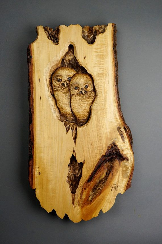 hibou chouette sculpture sur bois art murale art by davydovart sculpture pinterest. Black Bedroom Furniture Sets. Home Design Ideas