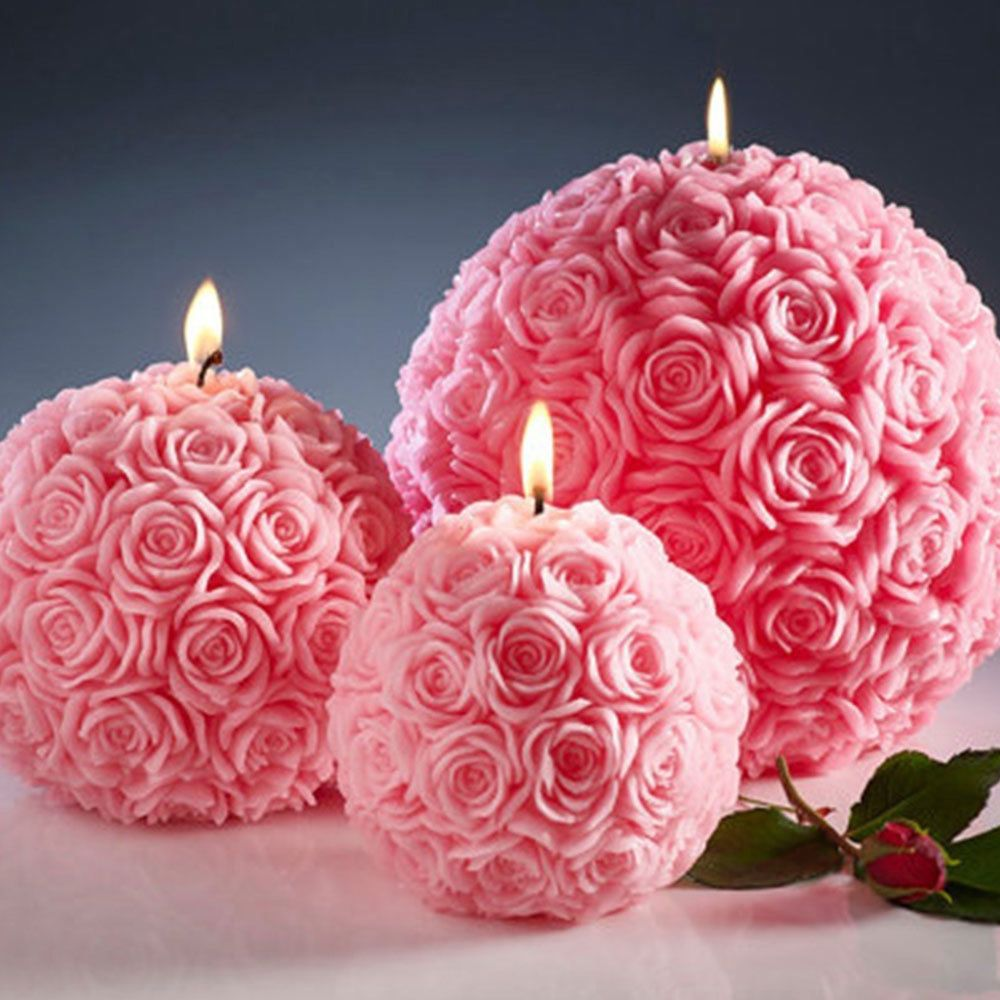 Romantic 3D Rose Flower Ball Shaped Candle Wax Candles for Wedding Party Decor