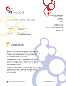 Orphanage NonProfit Funding Sample Proposal  Create Your Own