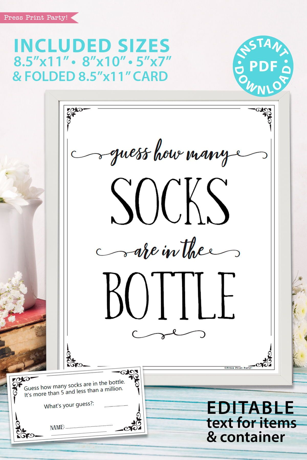 Baby Shower Guess How Many Socks In The Jar Template : shower, guess, socks, template, Guess, Printable, (Rustic, Style), Press, Print, Party!, Signs,, Shower, Games,, Games