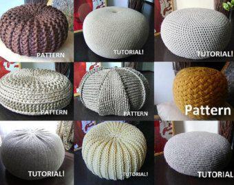 Popular Items For Knit Pouf On Etsy Crochet Pouf Cushion
