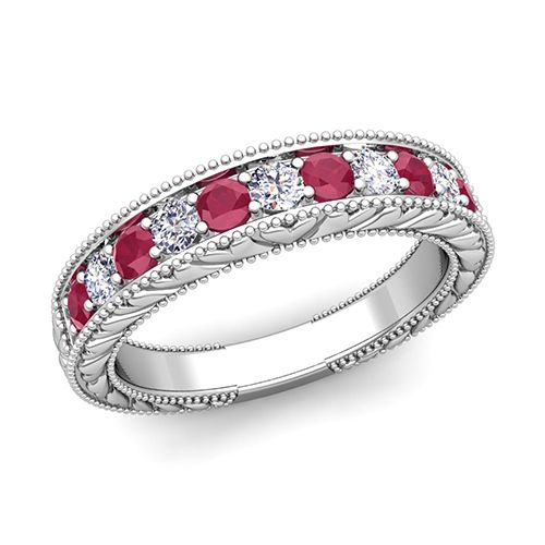 Vintage Inspired Diamond And Ruby Wedding Ring Band In Gold This At My Love Features Sparkling Diamonds