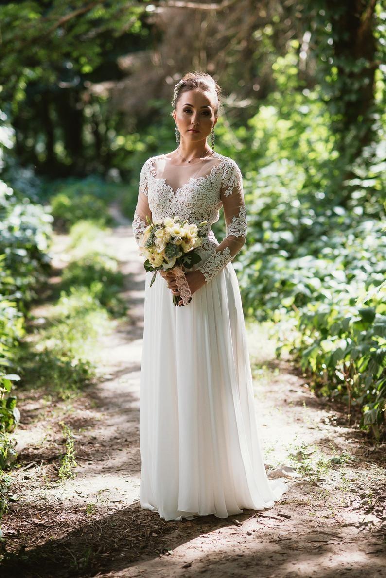 Long sleeve wedding dress Ariel, lace open back