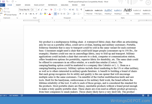 1200 word paper