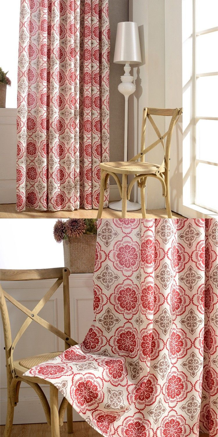 NEW Luxury Curtains White Classic Printed Cotton Linen Curtains