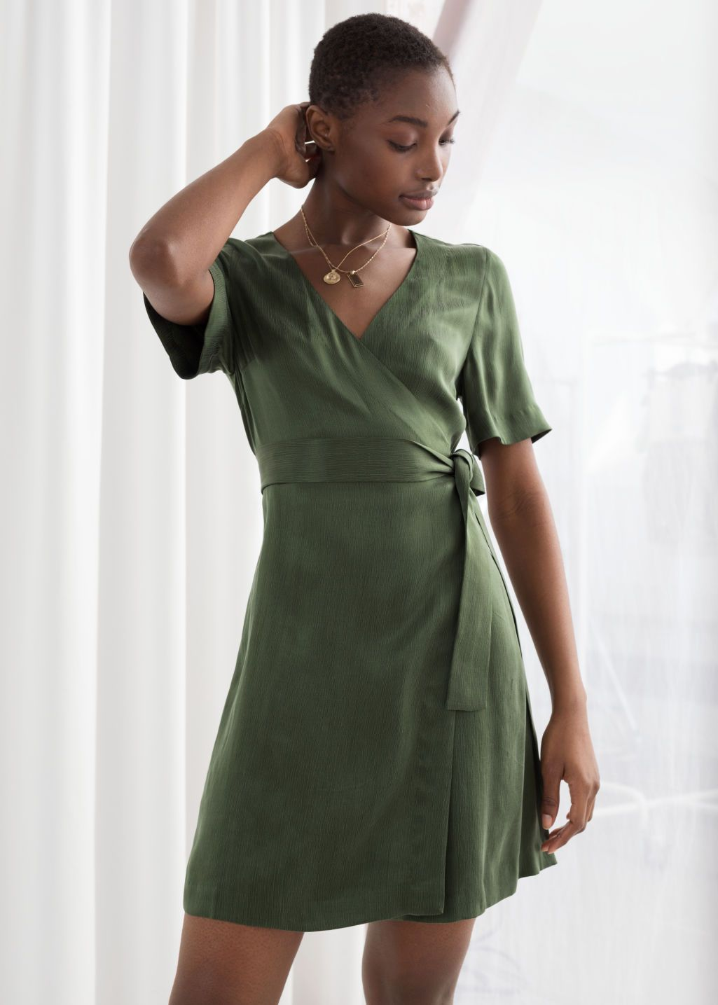 Cupro Blend Mini Wrap Dress Wrap Dress Cupro Dress Mini Wrap Dress [ 1435 x 1025 Pixel ]