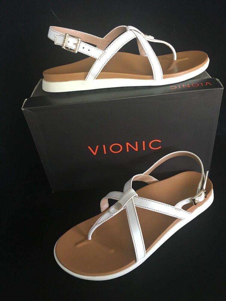2fa4102c58dd Vionic Women Veranda White Leather Strap Thong Sandals 10 M  109.99 New