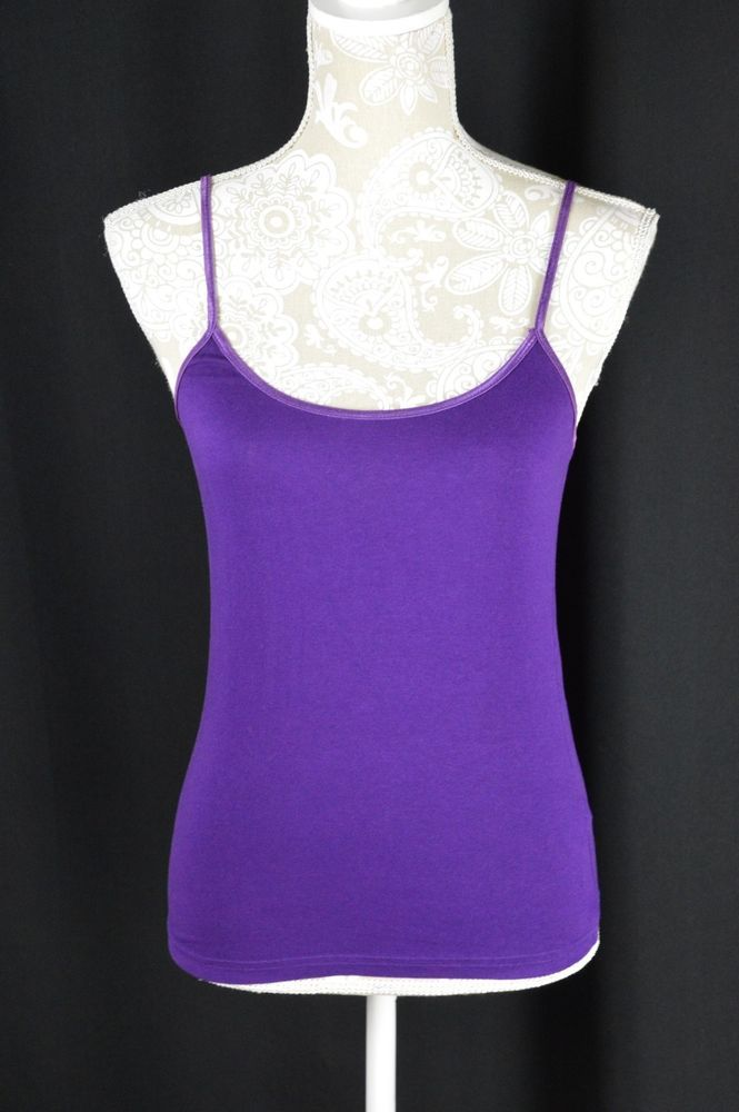 4622ad53ec4085 Rue 21 Womens Medium Dark Purple Spaghetti Strap Tank Top Cami No Shelf  Layering  Rue21  TankCami